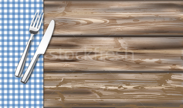 Table With Blue Checked Table Cloth Fork Knife Stock photo © limbi007