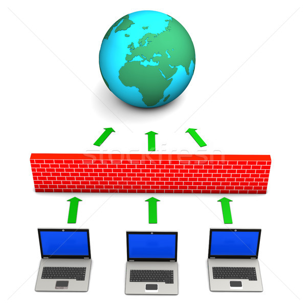 Güvenlik duvarı dünya dizüstü bilgisayarlar üç beyaz bilgisayar Stok fotoğraf © limbi007