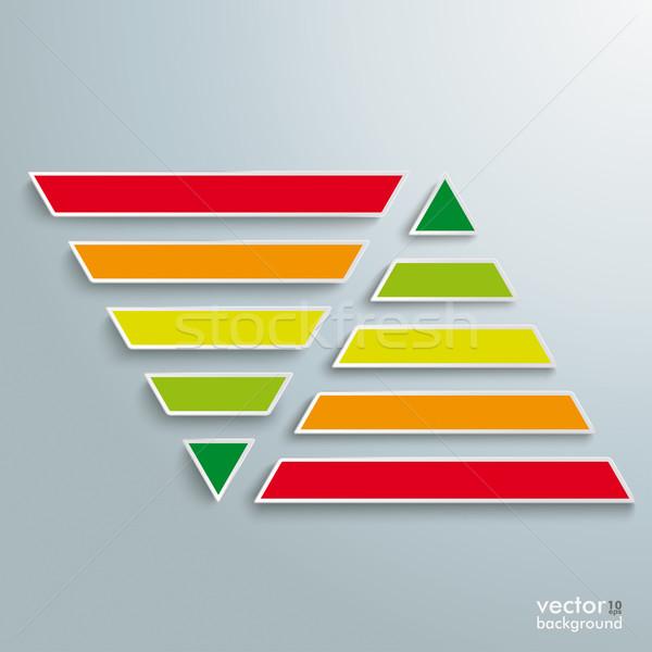 2 Parallel Colored Pyramids Infographic Stock photo © limbi007