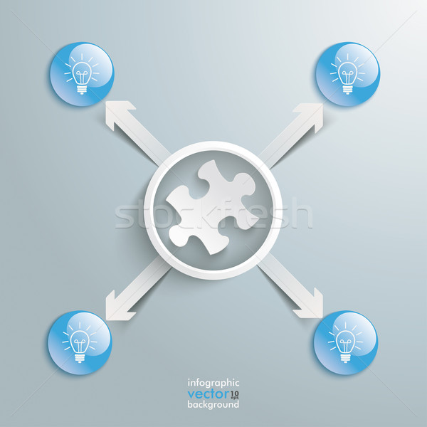 Puzzle Infographic White Ring 4 Blue Buttons Bulbs Stock photo © limbi007