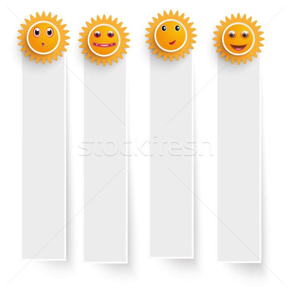 White Frame Banners Funny Suns Stock photo © limbi007