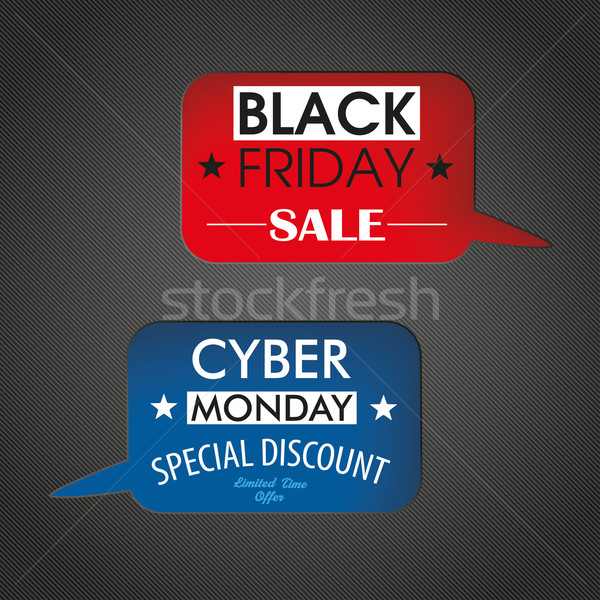 2 Speech Bubbles Holes Black Friday Cyber Monday Stock photo © limbi007