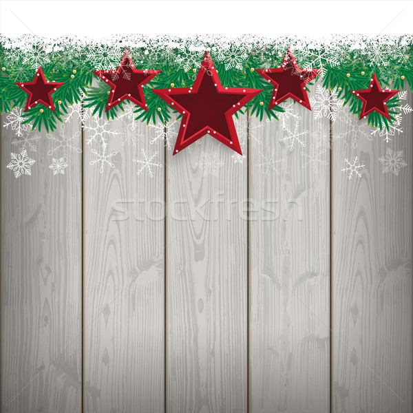 Snow Fir Twigs Wood Laths 5 Red Stars Stock photo © limbi007