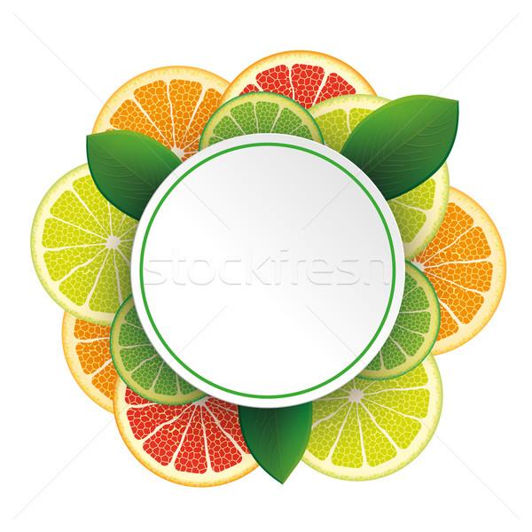 サークル バナー 柑橘類 果物 白 eps ストックフォト © limbi007