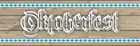 Oktoberfest Header Hearts Wooden Plank SH Stock photo © limbi007