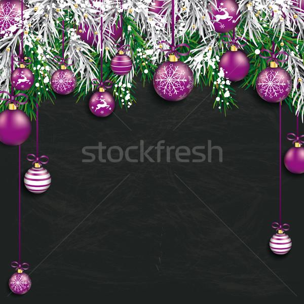 Christmas zamrożone zielone jodła tablicy Zdjęcia stock © limbi007