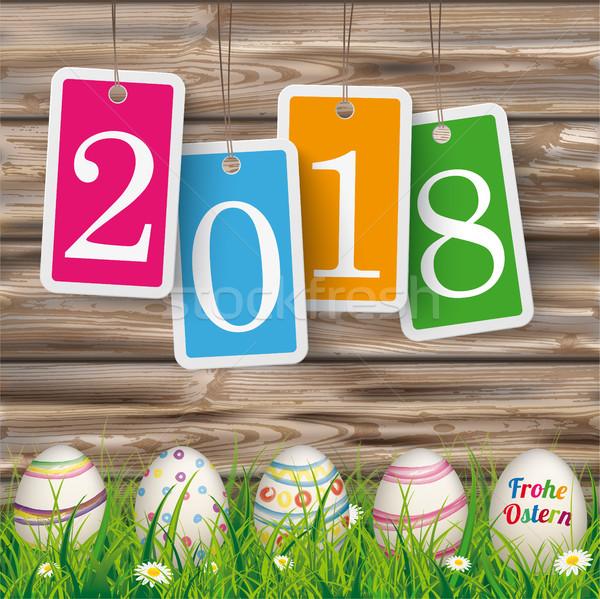 Easter Eggs Ostern Worn Wood Price Stickers 2018 Stock photo © limbi007
