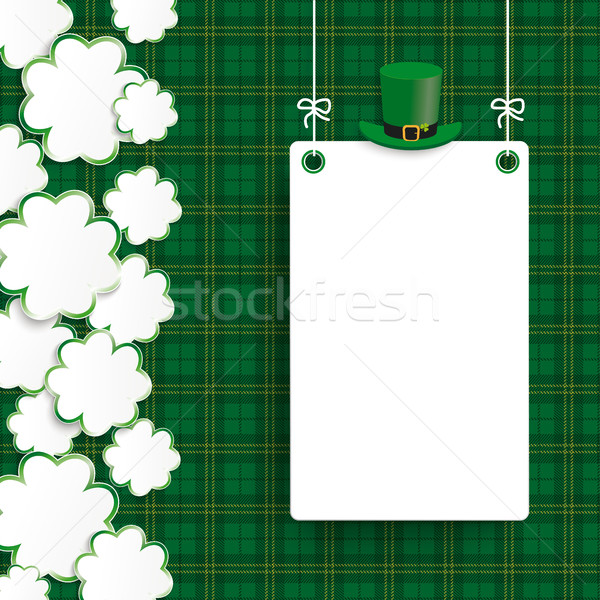 St Patricks Day Vintage Shamrocks Board Tartan Stock photo © limbi007