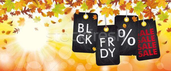 Autumn Foliage Price Stickers Header Sunbeam BLCK FRDY Stock photo © limbi007