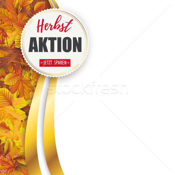Autumn Herbstaktion Flyer Oblong Foliage Emblem Stock photo © limbi007