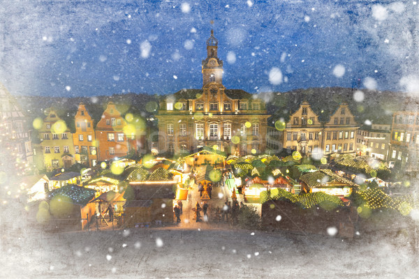 Christmas Market Schwaebisch Hall Germany Stock photo © limbi007