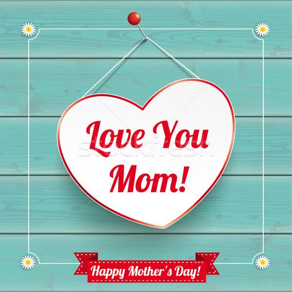 Daisy Flowers Frame Turquoise Wood Hanging Heart Mothersday Stock photo © limbi007