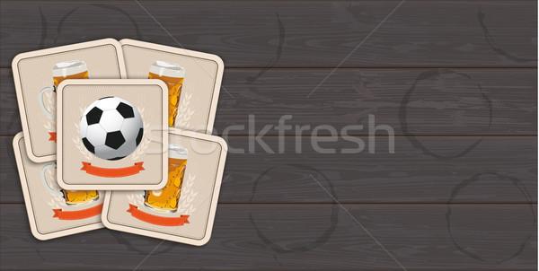 Sötét fából készült sör klasszikus futball szalag Stock fotó © limbi007