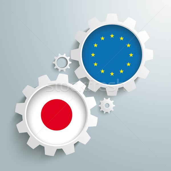 Eu 日本 パートナーシップ 歯車 白 フラグ ストックフォト © limbi007