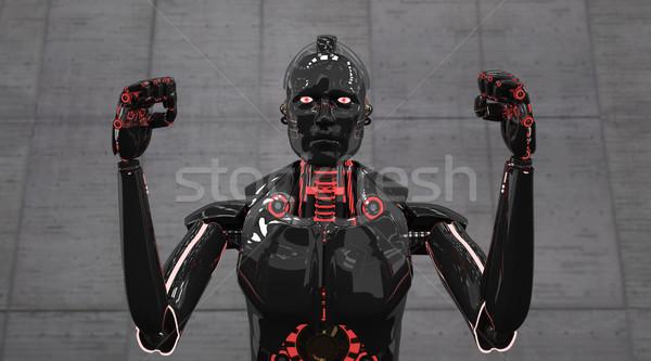 Aggressive Black Roboter Stock photo © limbi007