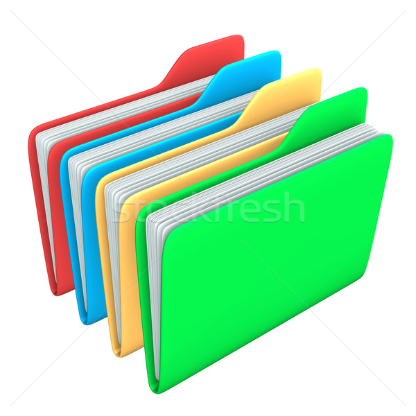 ストックフォト: 4 · フォルダ · 赤 · 青 · 黄色 · 緑