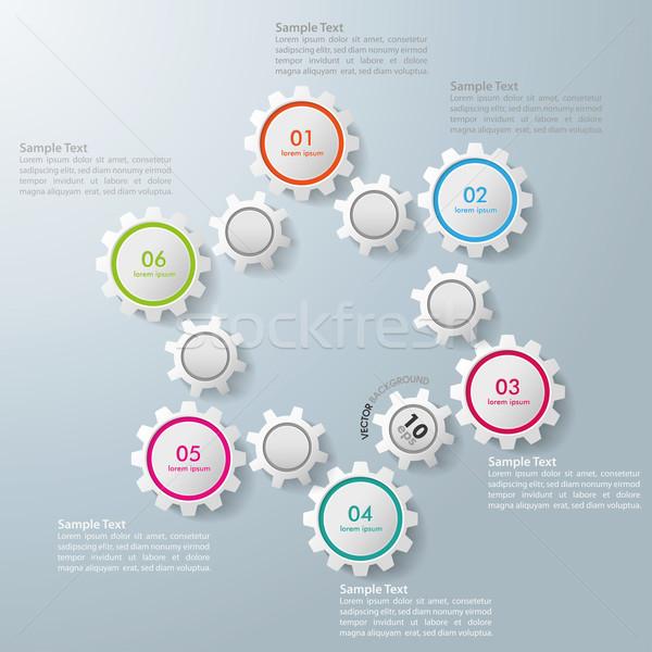 Infographic 12 Gears 6 Options Stock photo © limbi007