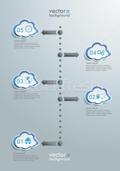 Felhő idővonal infografika terv felhők szürke Stock fotó © limbi007