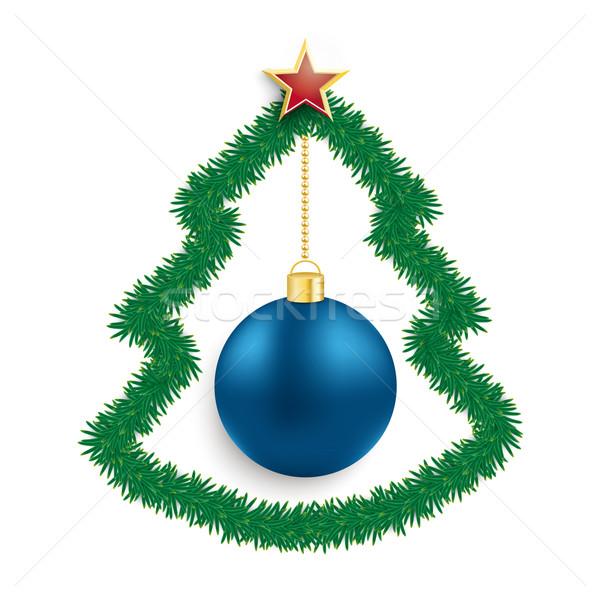 Noel ağacı mavi önemsiz şey star beyaz Stok fotoğraf © limbi007