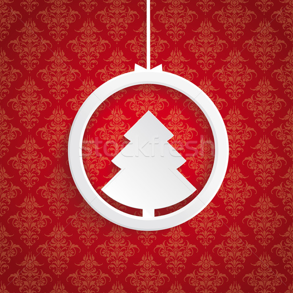 Christmas Tree Ring Red Background Ornaments Stock photo © limbi007