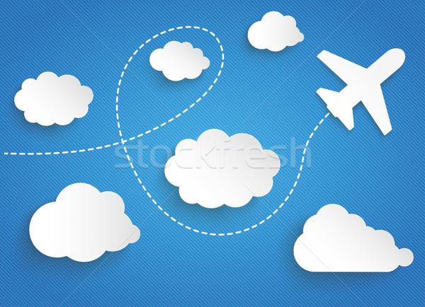 Papieru chmury pływające płaszczyzny jet niebieski Zdjęcia stock © limbi007