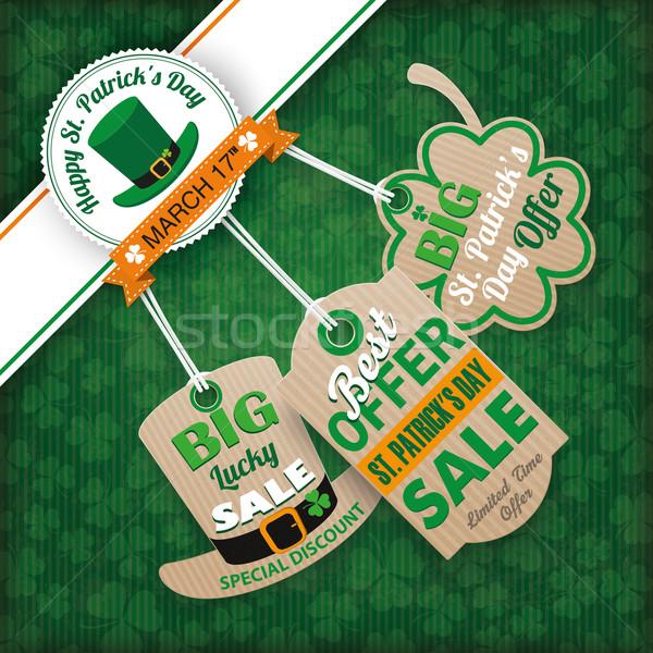 Stockfoto: St · Patrick's · Day · vintage · rand · karton · prijs · stickers