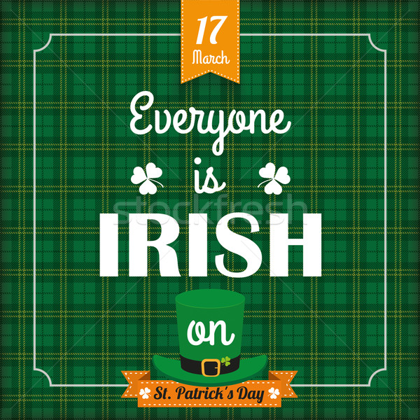 St. Patricks Day Vintage Tartan Cover Kiss Me Stock photo © limbi007