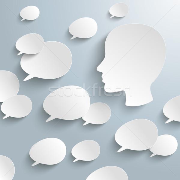 White Speech Bubbles Human Head Stock photo © limbi007