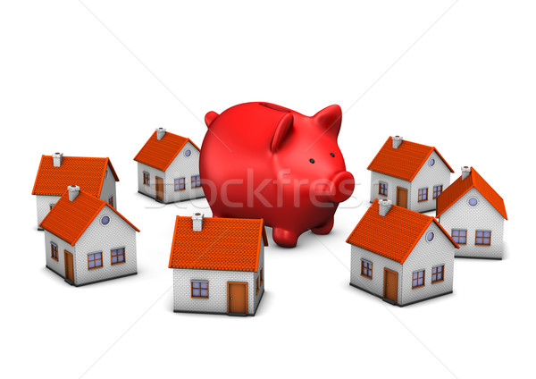 Stock photo: Red Piggy Banks Homes
