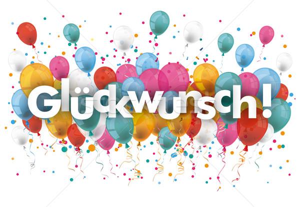 Confetti ballonnen tekst felicitatie eps 10 Stockfoto © limbi007
