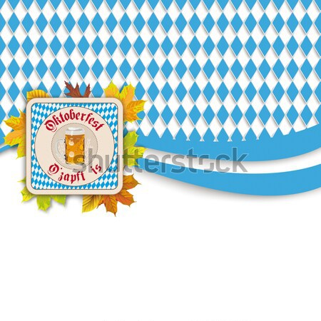 Bavarian Oktoberfest Wooden Centre Emblem Ribbon Stock photo © limbi007