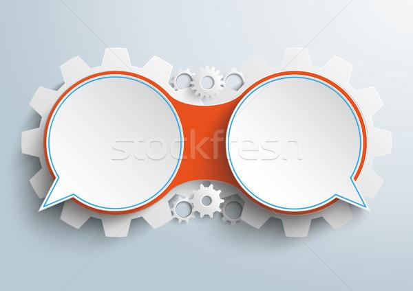Speech Bubbles Chain 2 Options Gears Dialog Stock photo © limbi007