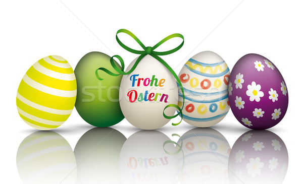 5 Colorful Easter Eggs Frohe Ostern Stock photo © limbi007