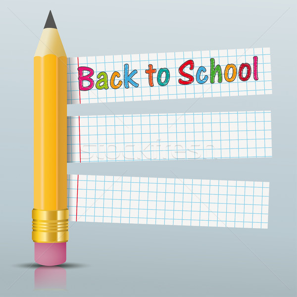 Pencil Checked Paper Stickers Back To School Mirror Stock photo © limbi007
