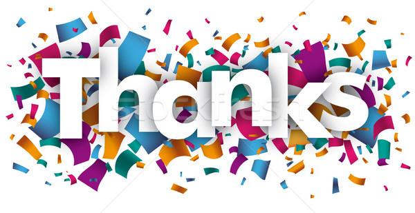 Köszönet konfetti szöveg eps 10 vektor Stock fotó © limbi007