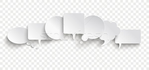 White Paper Speech Bubble Communication Bubbles Banner Transpare Stock photo © limbi007