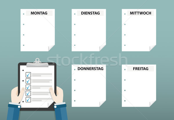 Human Hands Clipboard Checklist Montag Freitag Stock photo © limbi007