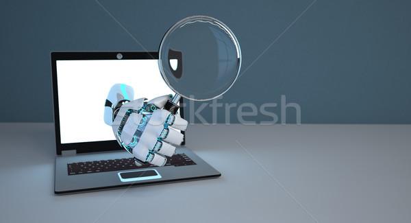 Robot Hand Loupe Notebook Stock photo © limbi007