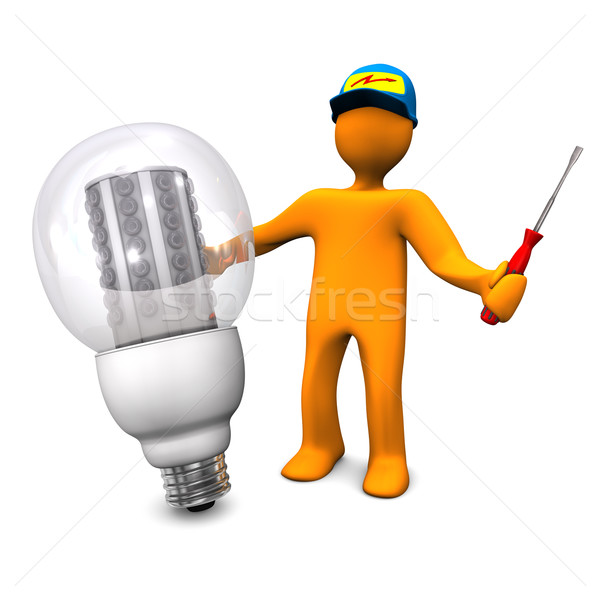 Electrician With LED Bulb Stock photo © limbi007