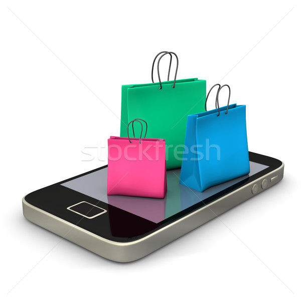 Smartphone Shopping Bags Stock photo © limbi007