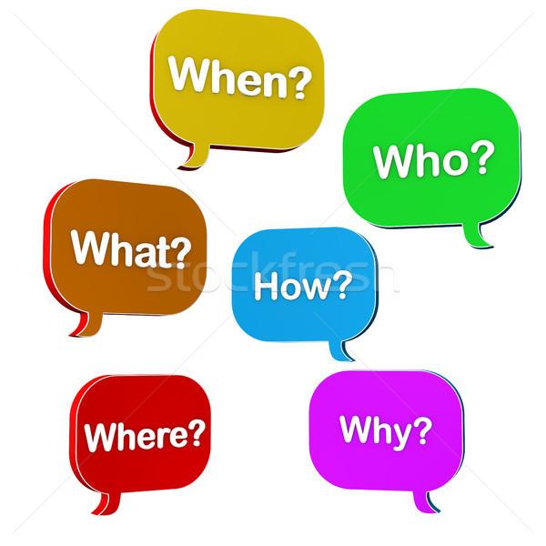 Speech Bubbles Questions Stock photo © limbi007