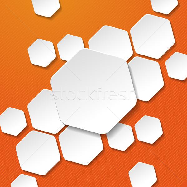 Fehér papír hatszög címkék narancs csíkok Stock fotó © limbi007