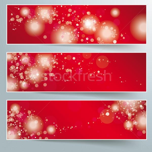 Three Christmas Banner Red Background Stock photo © limbi007