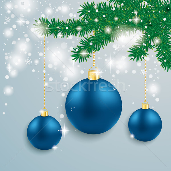 Blue Baubles Snow Lights Red Ribbon Fir Branch Stock photo © limbi007