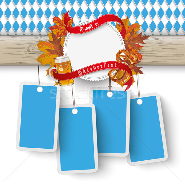 Oktoberfest Wooden Banner Foliage 4 Price Stickers Stock photo © limbi007