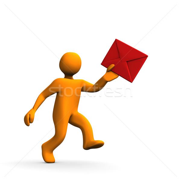 Listonosz 3D czerwony kopercie odizolowany Zdjęcia stock © limbi007
