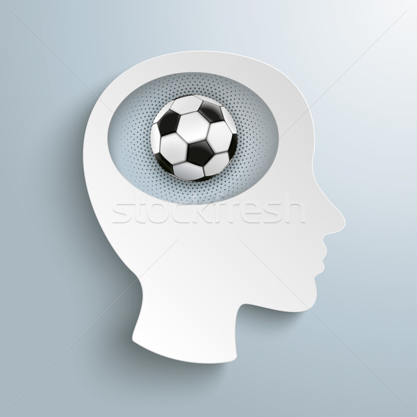 Paper Head Brain Football Halftone Stock photo © limbi007
