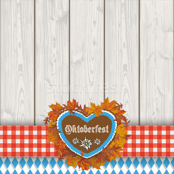 Oktoberfest Gingebread Heart Foliage Cloth Wooden Planks Stock photo © limbi007