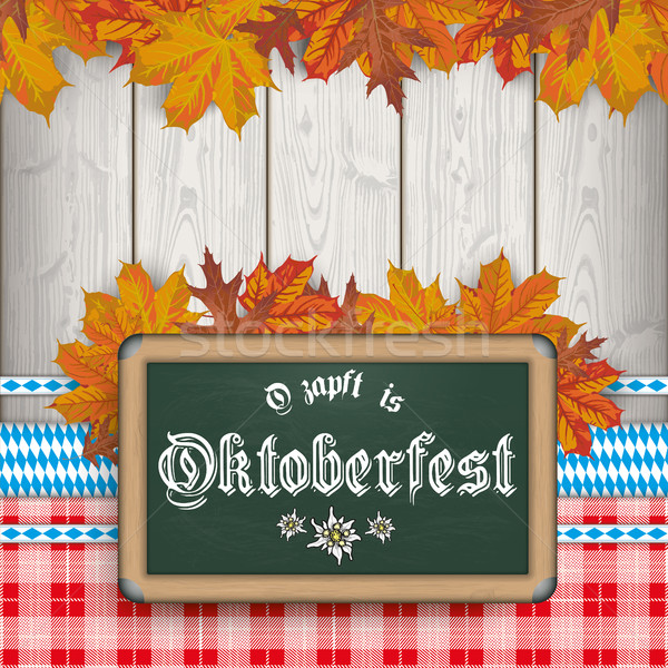 Stock photo: Bavarian Oktoberfest Blackboard Foliage Red Blanket