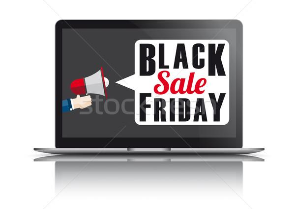 Portable black friday miroir main humaine texte vente Photo stock © limbi007